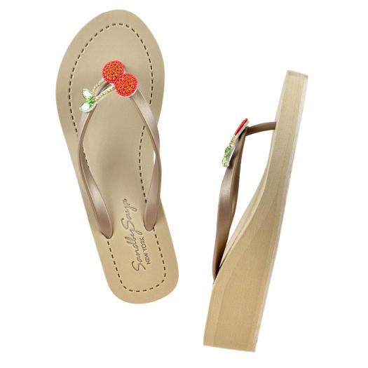 21695dadc2dbf Gold Women s Mid Wedge Sandals with Cherry