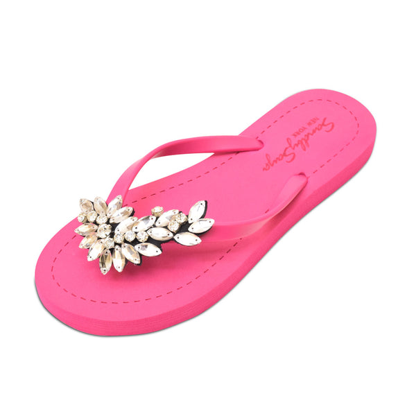 Pink Women's Flat Sandals with Crystal Manhattan, Flip Flops