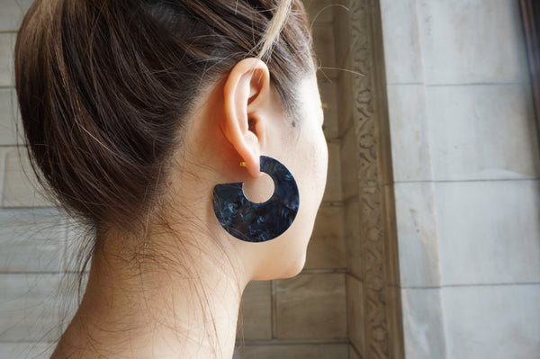 Navy marble hoop circle earring