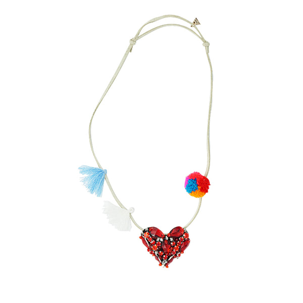 Chelsea Red Heart Kids Pom Pom Necklace