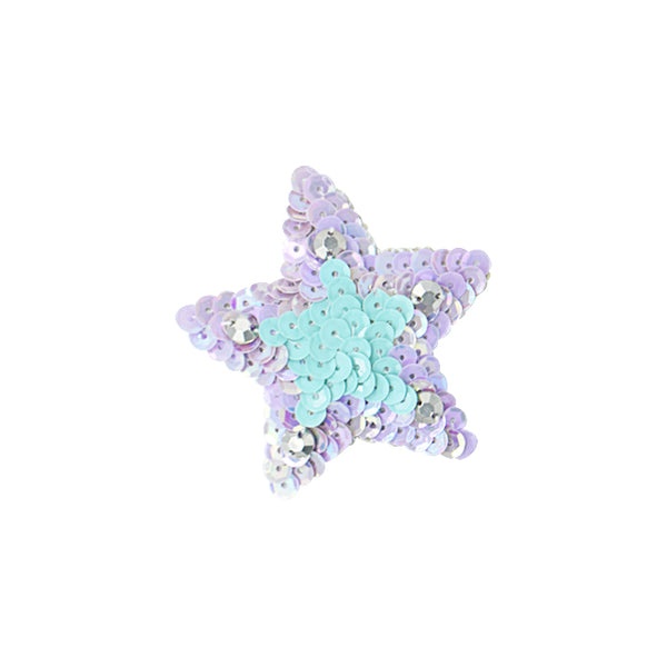 Blue and pink sequin star, gold ribbon
