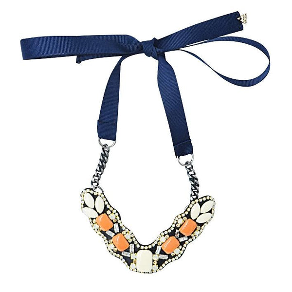 Sunset Park Orange- Ribbon Necklace