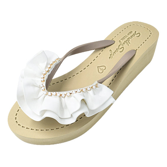 Rockaway White - Women's Flat Sandal, White, Ribbon