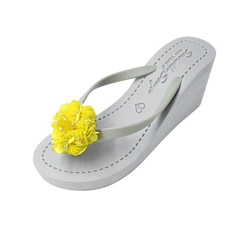 Noho Yellow Flower - Women's High Wedge