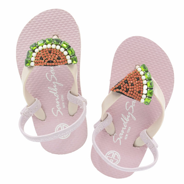 Watermelon - Women's Mid Wedge, Beaded, Watermelon, Summer, Spring, Fruit