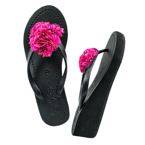 Noho (Pink Flower) - Women's Mid Wedge, Pink, Flower