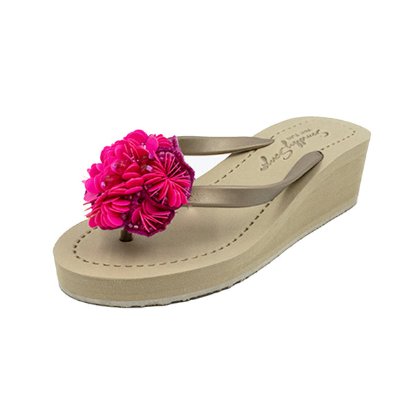 Noho (Pink Flower) - Women's Mid Wedge