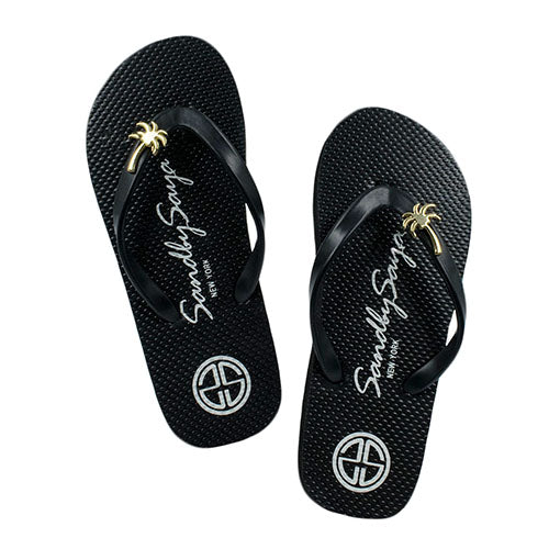 Gold, Palm Tree, Stud, Black, Flat, Comfortable, Sandal