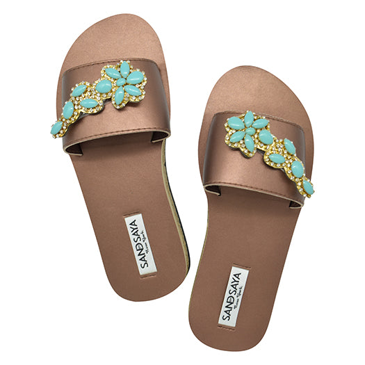 Brooklyn Turqoise Flower - Waterproof Espadrille Flat