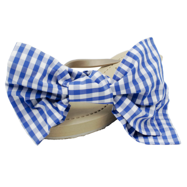 Moore - Women's Mid Wedge, Blue, White, Ribbon, Bow