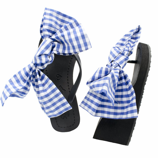 Gingham white blue ribbon sandal