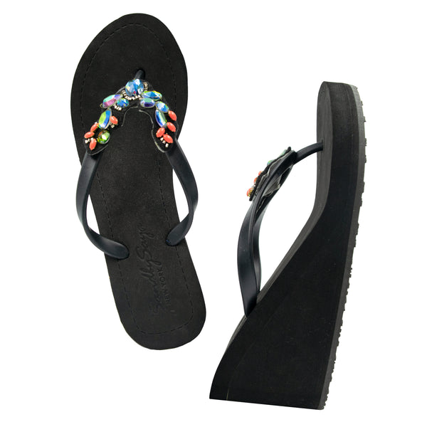 Cactus - Women's Flat Matte Sandal, Vibrant Colored Crystals