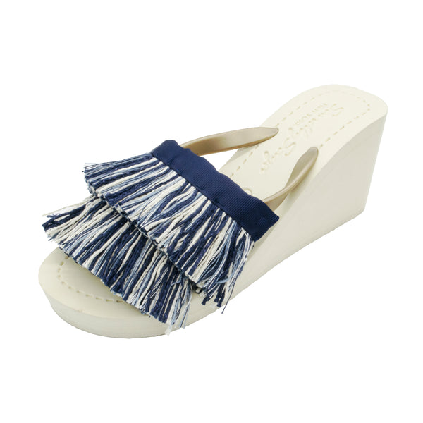 Irving - Women's High Wedge, blue and white