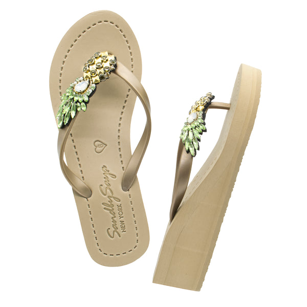 Pineapple - Women's Mid Wedge, Gold, Pineapple