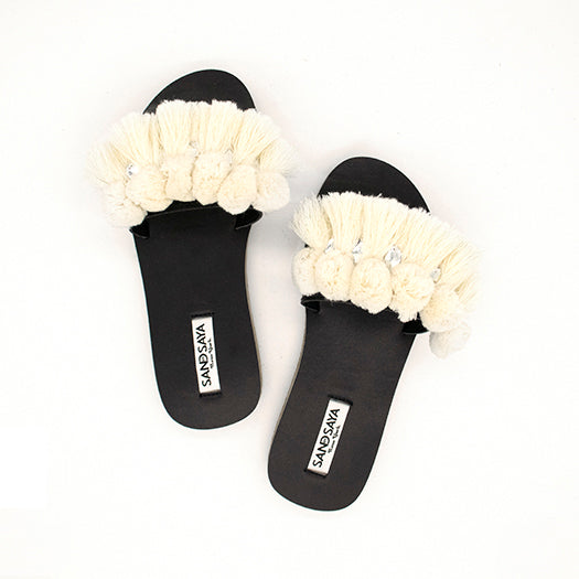 White Pompom Tussle - Waterproof Espadrille Flat