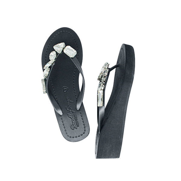 Lake Mid Wedge Flip Flop Different shapes of Crystal stones