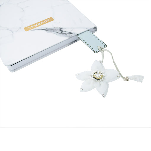 Christie White Flower Personalized Bookmark