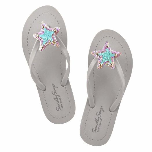 White Blue Hamptons Women's Cute Flip Flops Handmade Casual