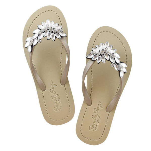 Manhattan (Crystal) - Women's Flat Sandals, Crystal