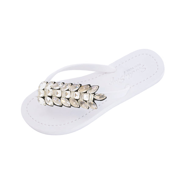 White Women's Flat Sandals with Smith Double, Flip Flops summer