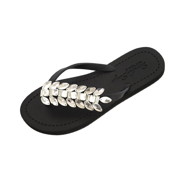 Black Women's Flat Sandals with Smith Double, Flip Flops summer