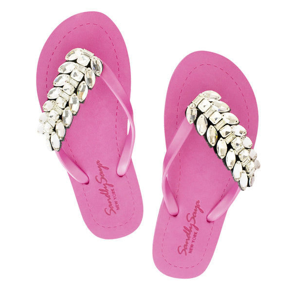 Pink Women's Flat Sandals with Smith Double, Flip Flops summer