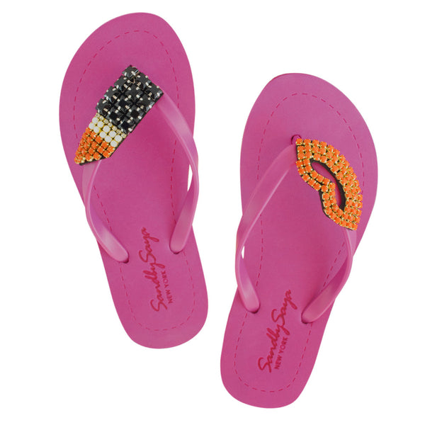 Pink Women's Flat Sandals with Lipstick, Flip Flops summer