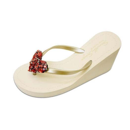 Gold Women's High heels Sandals with Red Chelsea Heart, Flip Flops summer