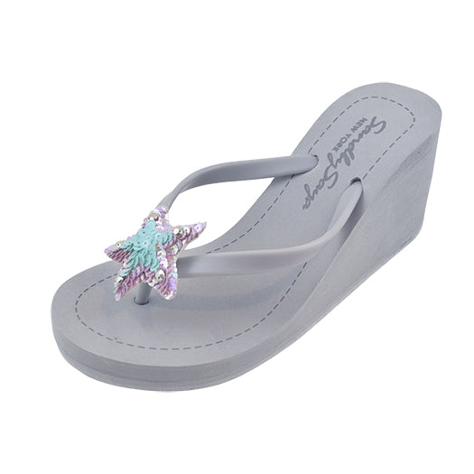 Gray Blue Hamptons Women's High heels sandals Cute Flip Flops Handmade Elegant View