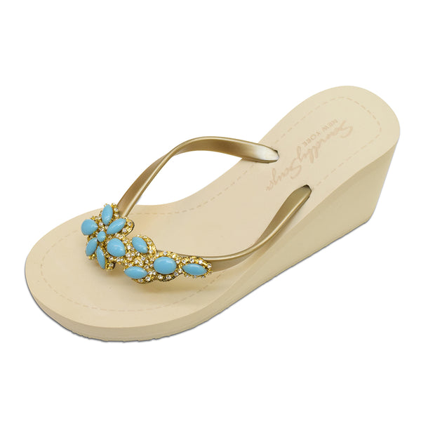 Brooklyn - Women's Flat Sandal, Blue Turquoise, Flower