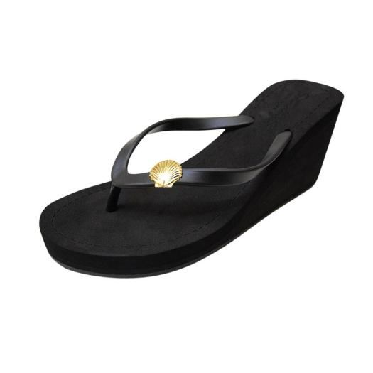 Black Women's High heels Sandals with Gold Shell, Flip Flops summer