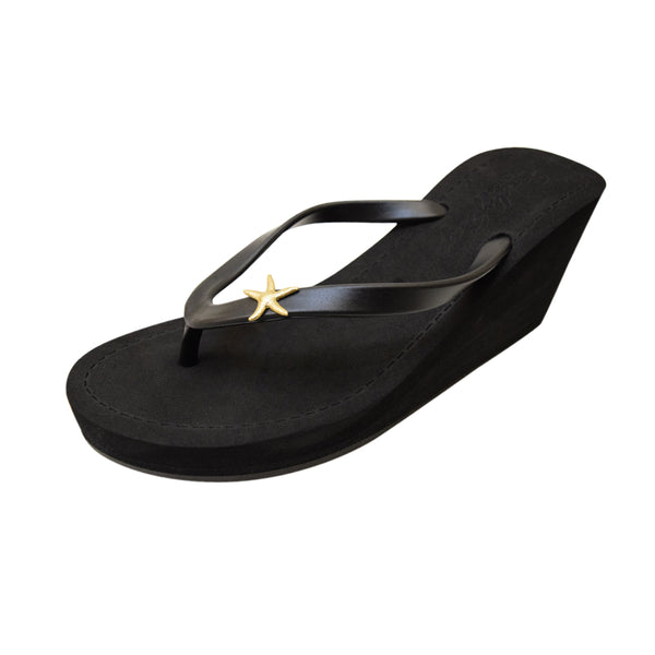 Gold Starfish - Women's High Wedge Matte