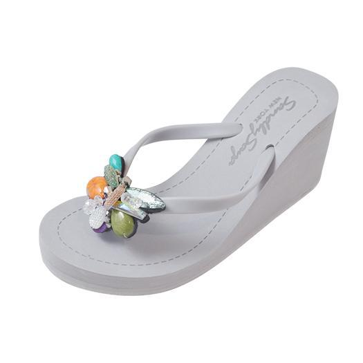 Gray Women's High heels Sandals with West Village, Flip Flops summer