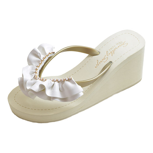 Gold Women's High heels Sandals with White Rockway, Flip Flops summer