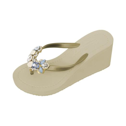 Gold Women's High heels Sandals with York, Flip Flops summer