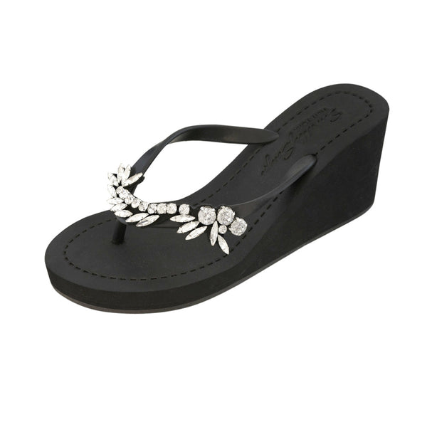 Black Women's High wedge Sandals with Nomad, Flip Flops summer