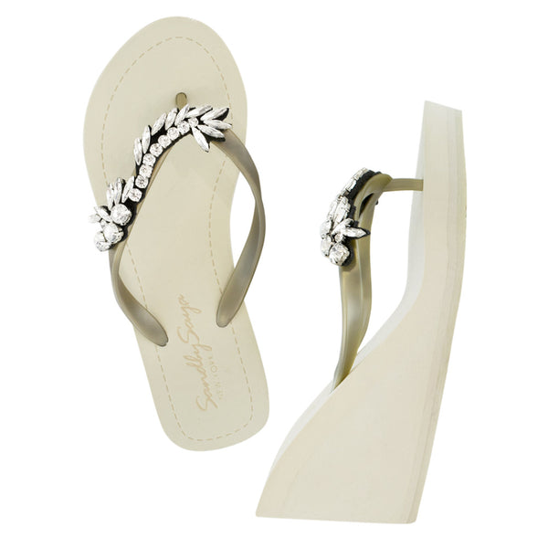 Gold Women's High wedge Sandals with Nomad, Flip Flops summer