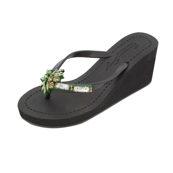 Black Women's High Wedge Sandals with Palm Tree, Flip Flops summer