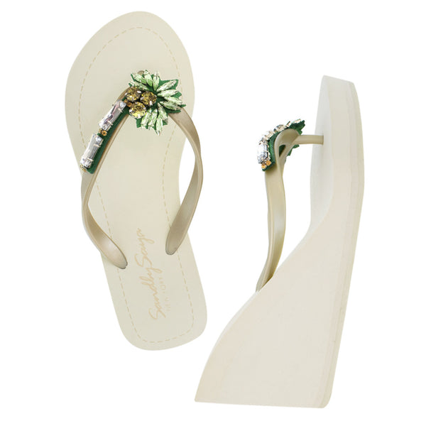 Gold Women's High Wedge Sandals with Palm Tree, Flip Flops summer