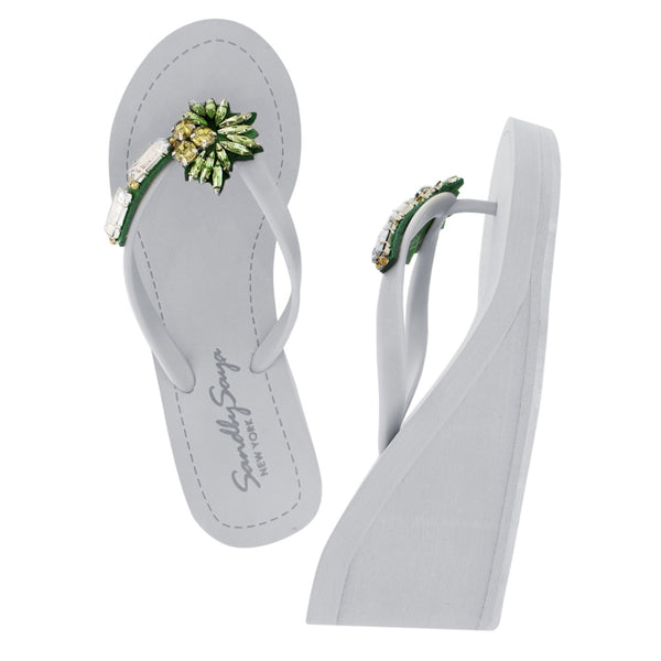 Gray Women's High Wedge Sandals with Palm Tree, Flip Flops summer