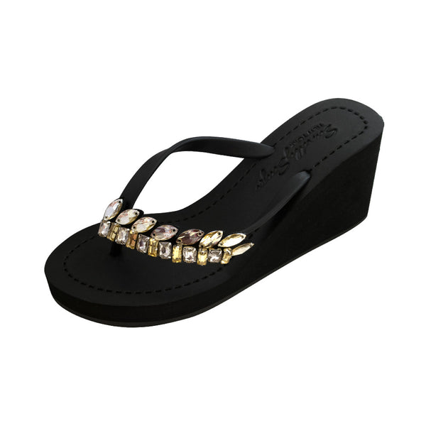 Black Women's High heels Sandals with Smith, Flip Flops summer