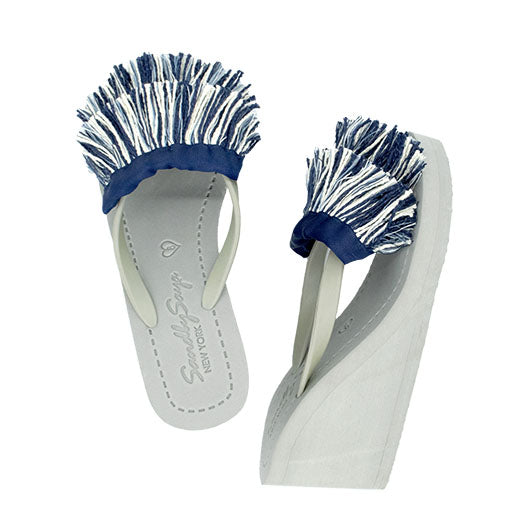 White and blue tussle sandal