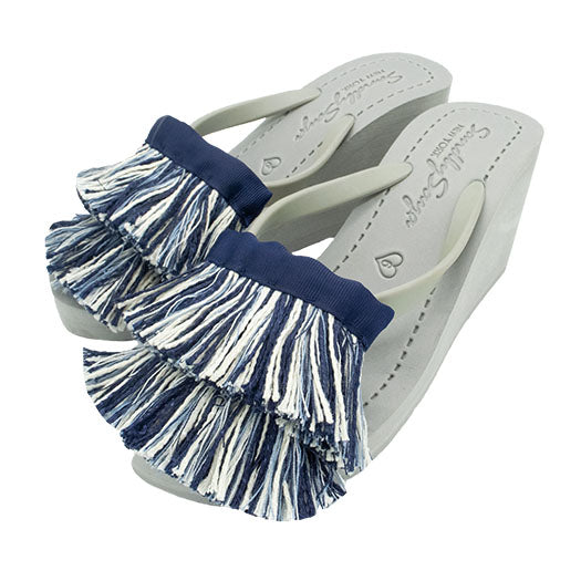 Blue and white tussle sandal