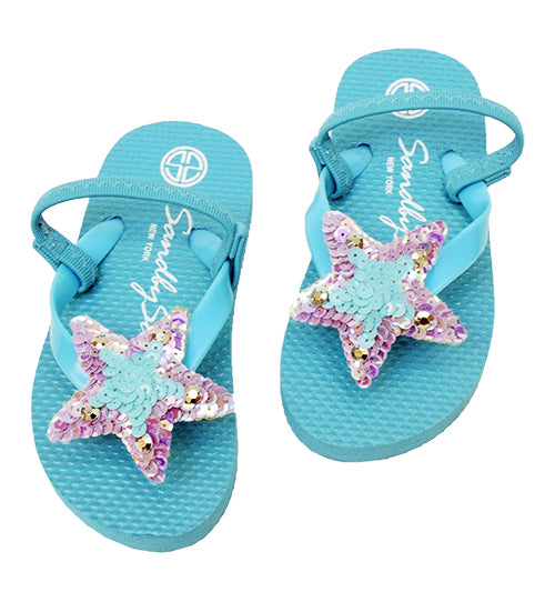 Sky Blue Kids / Baby Sandals Cute Stars, Blue, Purple