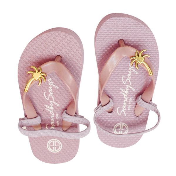 Gold, Palm Tree, Stud, Flat, Pink, Kids, Baby, Sandal