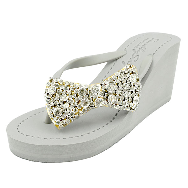 Madison - Women's Flat Sandal, Bow, Ribbon, Crystal