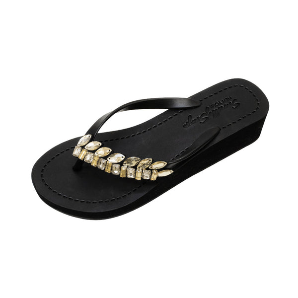 Black Women's Mid heels Sandals with Smith, Flip Flops summer