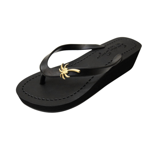 Gold Palm Tree - Women's Mid Wedge