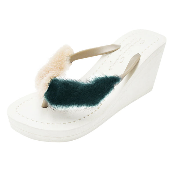 Mink Fur Pink & Green - 2 Tones High Wedge