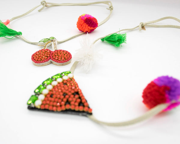 Kids Pom Pom Fruits Necklace